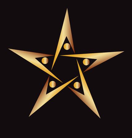 Trabajo en equipo de personas icono imagen Vector de la insignia de oro de forma de estrella