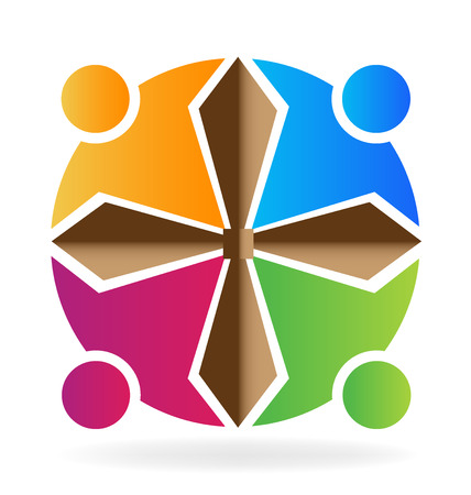 symbolic cross: Teamwork people with cross shape image vector logo