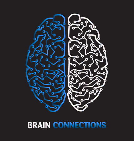 Human brain microprocessor connection medical symbol