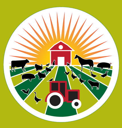 vector image: Farm agriculture seal vector image Illustration