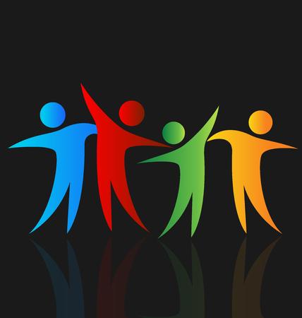 Le persone felici immagine logo vettoriale tempo di condivisione Logo