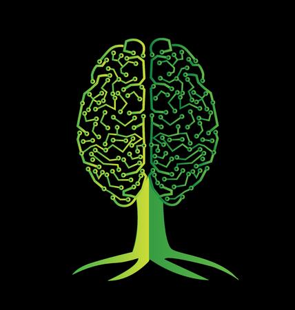 erudite: Brain tree vector image