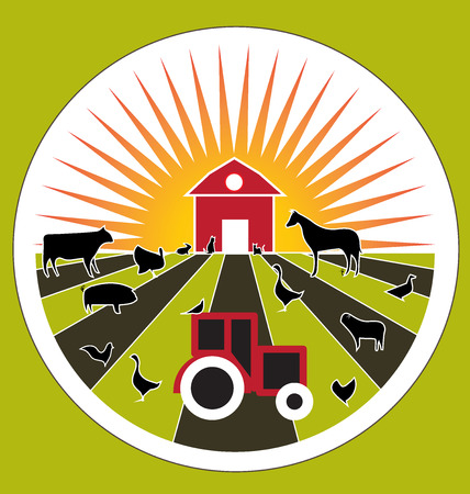 fertility emblem: Agriculture farm fresh products domestic animals vector