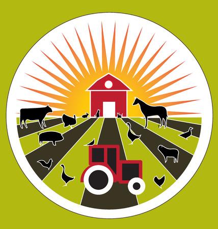 Sunset landscape vector: trang trại nông nghiệp sản phẩm tươi trong nước động vật vector