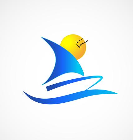 cruise ship: Boat beach birds icon vector Illustration