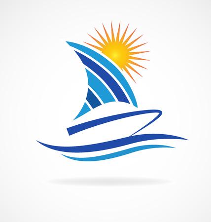 Boat beach waves icon vector