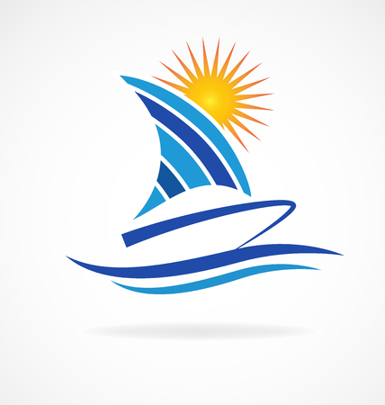yacht: Boat beach waves icon vector