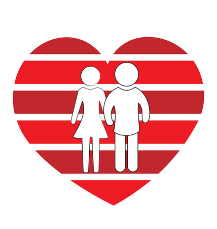 love couples: Love couples logo flat icon Illustration
