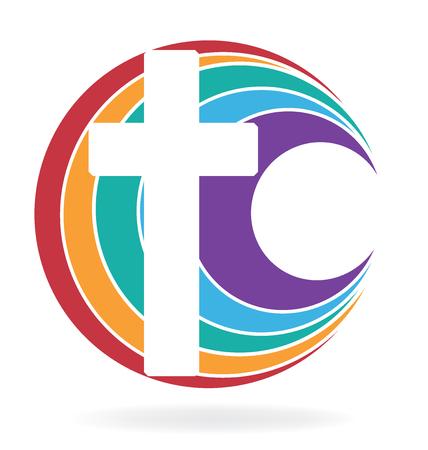 Cross symbol of church icon design