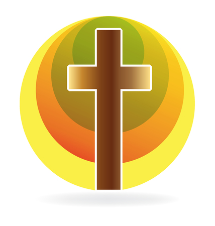 Cross and sun icon vector template