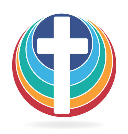 righteous: Cross and rainbow icon design Illustration
