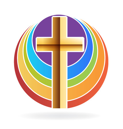 righteous: Gold cross and rainbow icon design Illustration