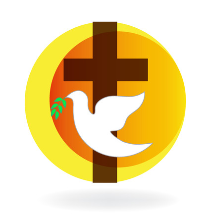 Holy Spirit dove and cross Ilustrace