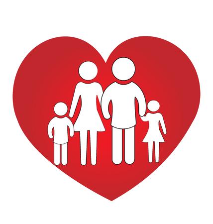 fraternidad: Familia amor del corazón concepto de unidad