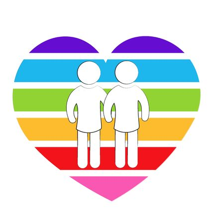 Gays couple rainbow heart love symbol Illustration
