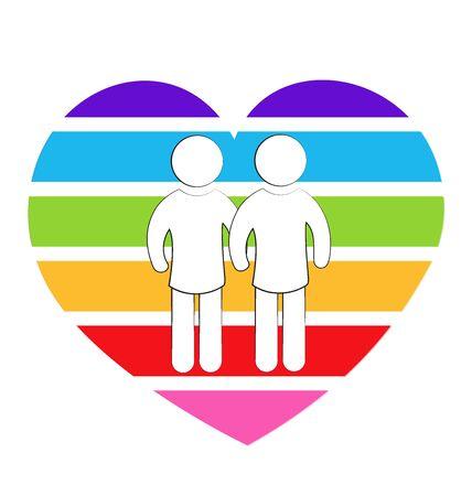 relaciones sexuales: pareja de homosexuales arco iris símbolo del amor del corazón