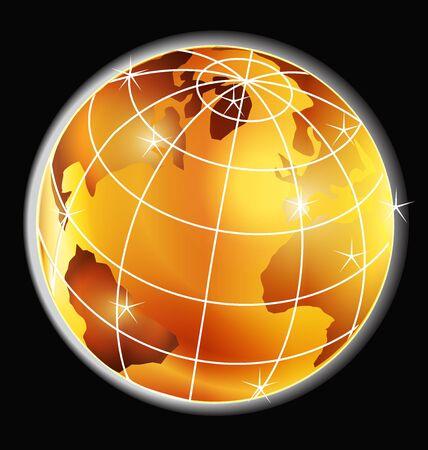 Golden sparkle map world