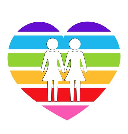 Lesbian couple rainbow heart love symbol