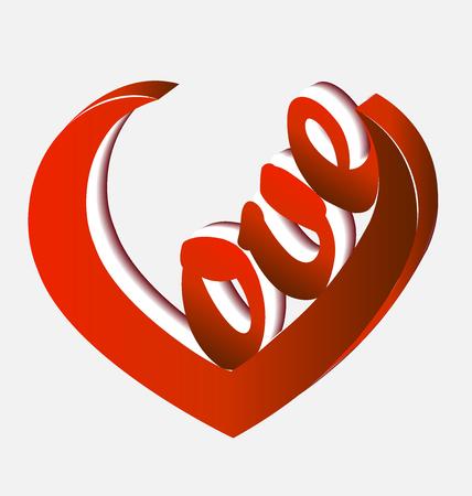 Love word 3D heart shape icon vector Illustration
