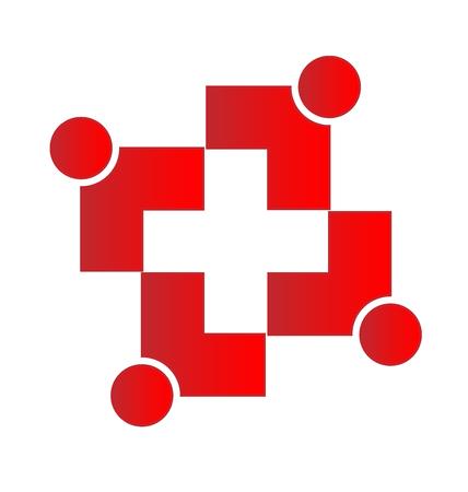 non stock: Teamwork medical cross vector