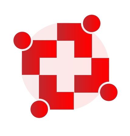 voluntary: Medical cross teamwork vector
