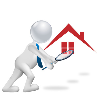 3D man searching a house vector image Illustration