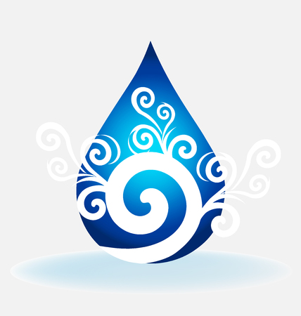 Water drop floral swirly vector
