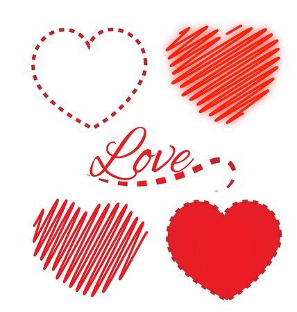 Valentine heart love icons set vector logo