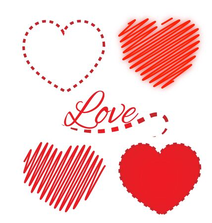Valentine heart love icons set vector logo