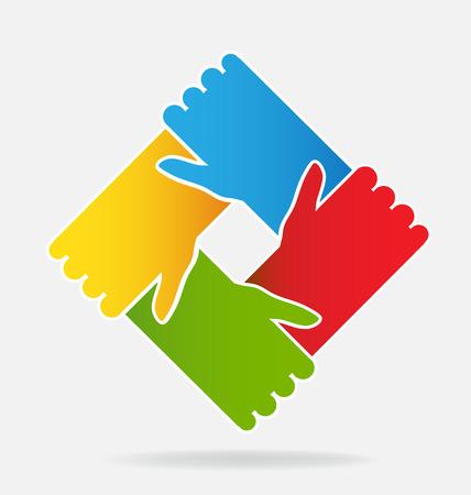 Hands teamwork people vector design symbol of union