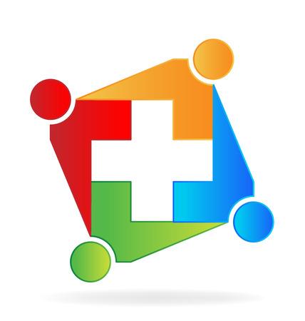 Teamwork colorful medical vector image Illustration