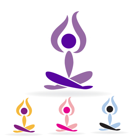 Set of yoga man vector image
