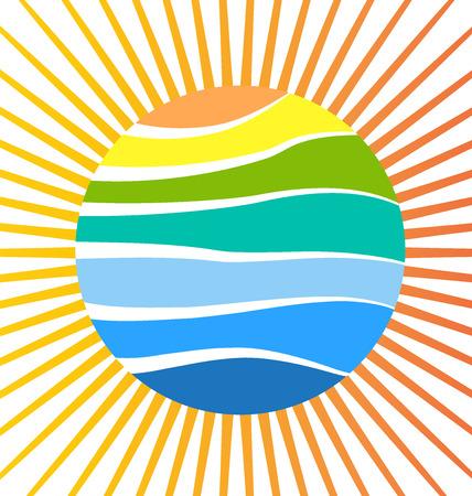 Sun beach reflection vector