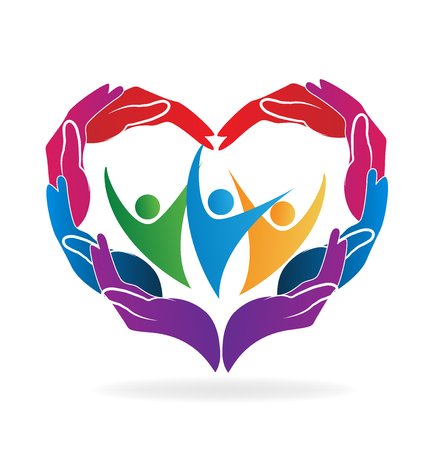 hand colored: Hands heart love caring people vector image