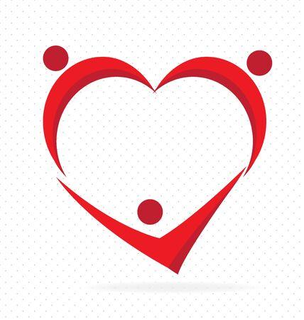 electrocardiograma: Trabajo en equipo amor del corazón del pueblo. Concepto de producto vectorial