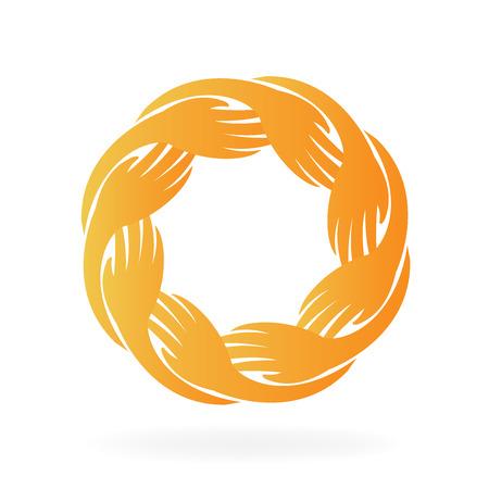 estrella de la vida: Manos de trabajo en equipo en un círculo. Tarjeta de identificación. Unidad concepto de vector logo