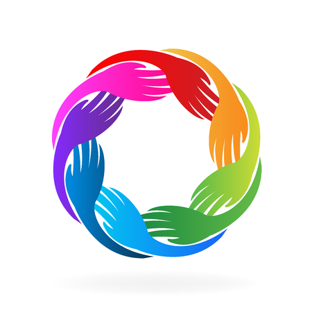 Ręce pracy zespołowej w kole. Dowód osobisty. Unity koncepcja wektor logo