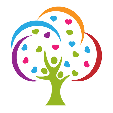 Tree people love logo vector