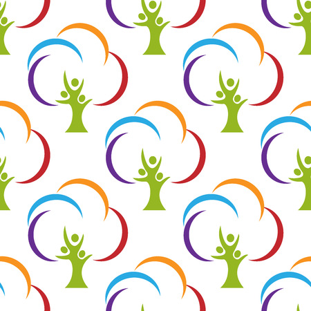Tree people pattern background template