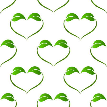 vector image: Ecology green leafs heart love shape pattern vector image Illustration