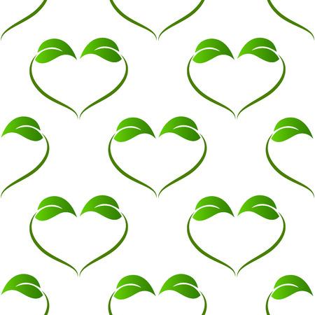 medicine logo: Ecology green leafs heart love shape pattern vector image Illustration