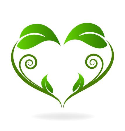 leafs: Ecology swirly leafs heart love shape logo vector image