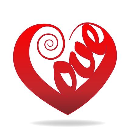 non profit: Love heart valentines concept logo vector image