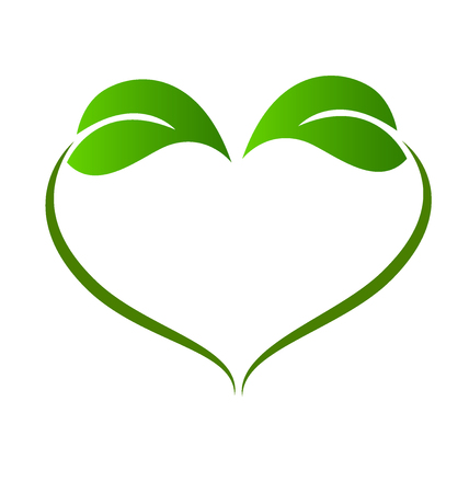 Healthy nature leafs love symbol logo vector image