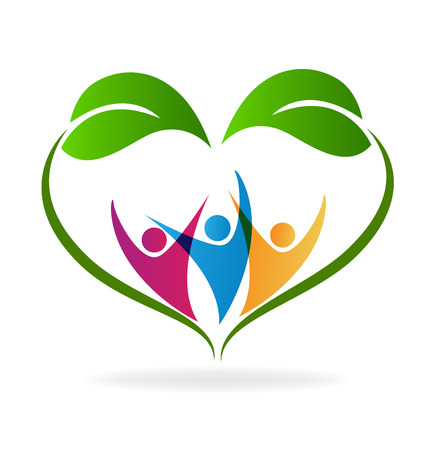 genealogy tree: Ecology happy people and healthy life logo vector image