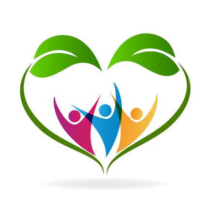 vida natural: imagen vectorial logotipo vida sana ecología y la gente feliz