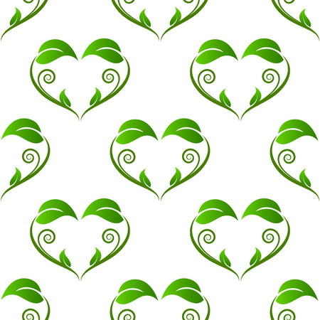 Ecology swirly leafs pattern background vector image