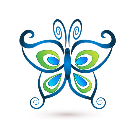 stock clip art icons: Blue butterfly luxury logo vector Illustration