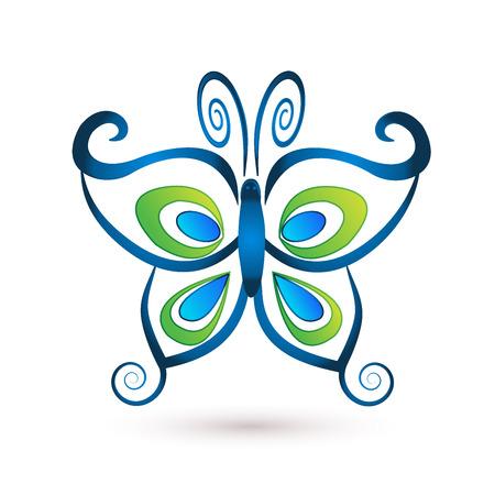 Papillon bleu logo de luxe vecteur Banque d'images - 61739614