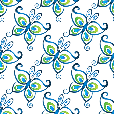shinning leaves: Blue butterfly pattern template vector image Illustration